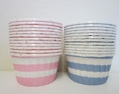 12 Pink Blue Striped Nut Baking Candy Cups