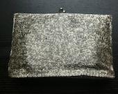 Vintage beaded grey silver evening clutch bag