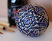 dragonfly - Japanese temari - zen home decor ornament - silver brown with blue & bown embroidery - crafting for a cause