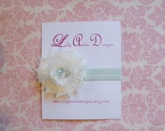 Cream jeweled shabby flower on a aqua headband/ Newborn headband/ baby headband
