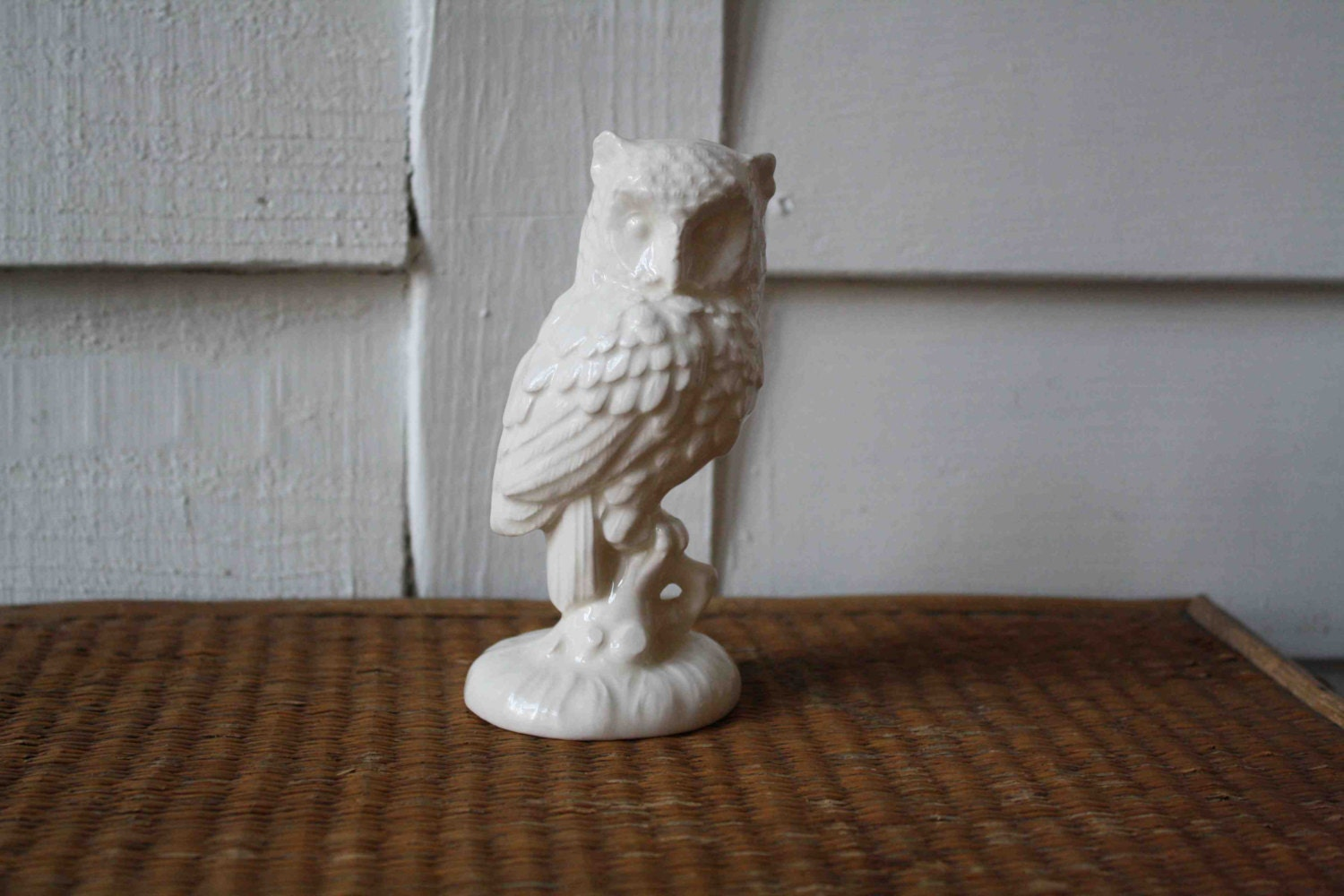 White Owl Ceramic Halloween Decor By Silverbeevintage On Etsy