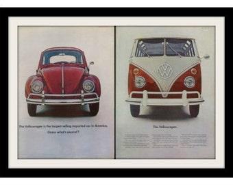 1965 VOLKSWAGEN Beetle Bug & Bus Photo Ad, Vintage VW Advertising Wall Art Decor Print