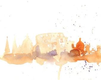 Watercolor Travel Illustration,  Rome silhouette,  Watercolor, abstract fine art, illustration, home wall decor artwork