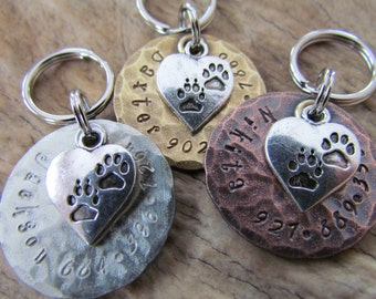 Pet Tags - Pet ID Tag - Dog Collar Tag with Heart and Paw Print Charm, Personalized - Dog Collar Tag - Dog Harness Tag - Cat collar tag