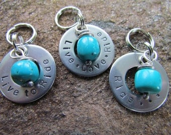 Hand Stamped Stainless Steel Washer - Turquoise Stone Charm - Tag - Gifts for Equine Enthusiasts