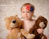 4th of July Headband, Stars and Stripes Flowers, Newborn Baby Photo Prop