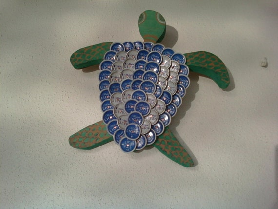 Items similar to beer bottle cap turtle wall art on etsy for Bottle cap wall