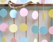 Light Blue, Light Yellow, Pink 12 ft Circle Paper Garland- Wedding, Birthday, Bridal Shower, Boy or Girl Baby Shower, Party Decorations