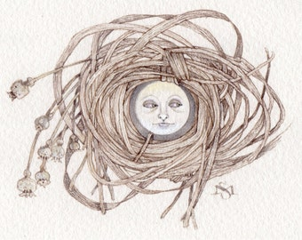 suspicious moon nest original watercolor painting OOAK