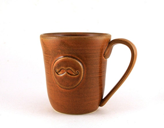 Brown Mustache Mug: Unique Gift for Men, Moustache Cup, Presents for Dads and Grads, Best Man, Pottery Gifts for Him by MiriHardyPottery