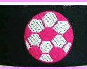 "Soccer Balls  - 1"" x 1 3/8  yds Navy, Hot Pink and White - 1 available"