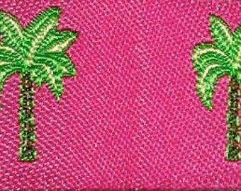 """Woven Jacquard  Ribbon 3/4""""  Palm Trees -Pink ,Lime and Brown-"""
