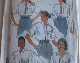 1980's Sewing Pattern - Simplicity 9027 Long or short sleeved shirt with monograms Size 10 - 14 Uncut and factory folded
