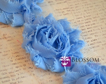 1/2 or 1 Yard Increment - CORNFLOWER BLUE - Shabby Chiffon Flower Rose Trim