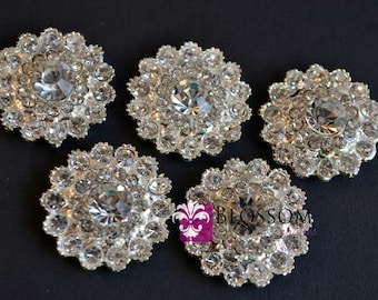 Metal Rhinestone Buttons Crystal Clear FLATBACK 24mm - Flower Centers - Wedding Bridal Prom Jewels Sparkle Vintage Inspired Wholesale