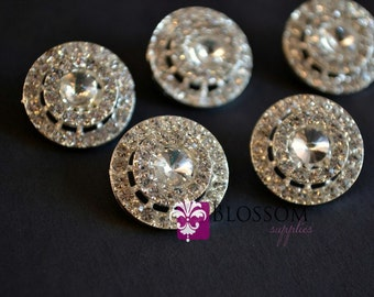 Metal Rhinestone Buttons with Loop Crystal Clear 18mm - Flower Centers - Wedding Bridal Prom  (BS2420)