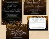 Champagne Bubbles Text-Editable Save the Date, Invitation, RSVP, and Thank You Package - Instant Download