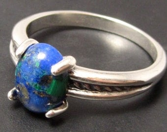 Solomon's Stone Ring - Rope Style Size 7 - Stone from Fortress Masada - Lapis Malachite Turquoise in One Stone