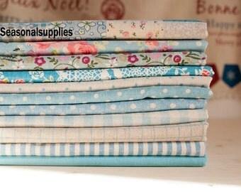 """Blue Bundle Blue Linen Cotton Fabric Bundle- Blue Fabric Fat Quarter Bundle, 10 Fat Quarters Pieces each 13""""X19"""" (QT117-M)"""