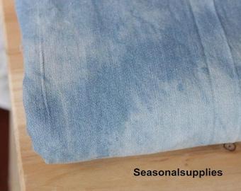 Denim Cotton Fabric, Washed Denim, tie-dye blue denim,diy,Sewing 1/2 yard  (QT138)