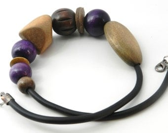 ShoRt NeckLacE - WOOD and RUBBER
