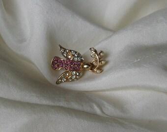 Gold Pearl  Rhinestone and Amethyst  Bird Brooch/Pin