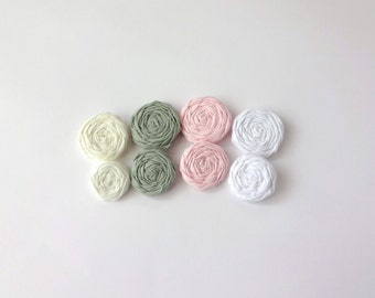 Sage Green, White, Pink and Ivory Fabric Rosettes Embellishment