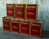 Vintage Schilling Spice Containers, Vintage Spices, 1930's  Schillings Spice Tins