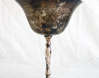 Vintage Silver Plate Wine Goblet, Vintage Decor, Tarnished Silver Goblet, Rustic