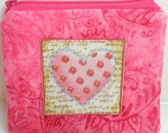 Valentine Music Pink Zippered Pouch
