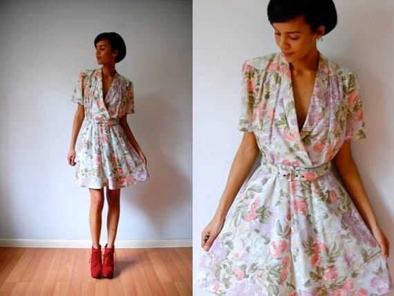 Vtg Floral Pastel Printed Retro Belted SS Dress