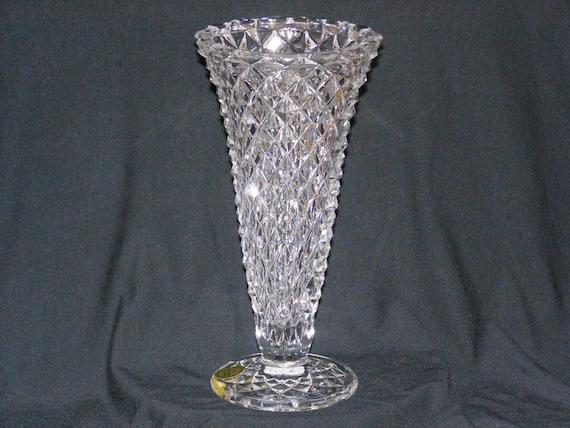 Vintage Beautiful Diamond Cut Princess House Crystal Vase