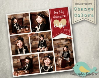 Photography Collage Template Blog Board 12x12 - Collage Valentines