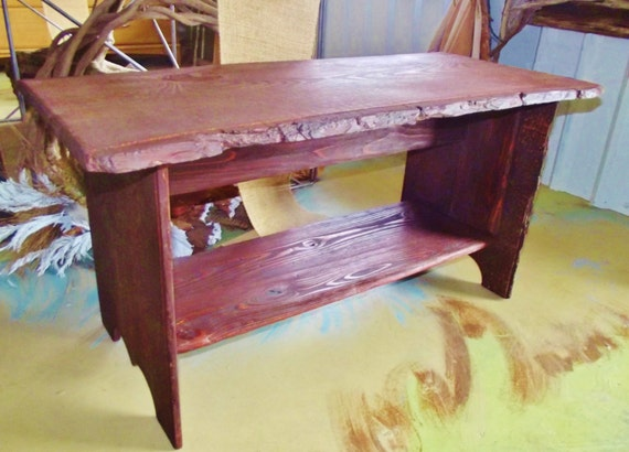wood coffee table exposed bark 36 x 19 stained by With exposed wood coffee table