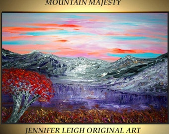 """Original Large Abstract Painting Modern Contemporary Canvas Art Purple Gold """"MOUNTAIN MAJESTY"""" Tree 36x24 Palette Knife Texture Oil J.LEIGH"""