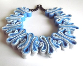Ombre Statement Necklace Jewelry Felt Necklace Felted Jewelry Recycled Eco Friendly Felt Bib Necklace In Blue