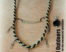 Fly Fishing Survival Lanyard Black with Desert Camo Strait Straight Braid Pattern
