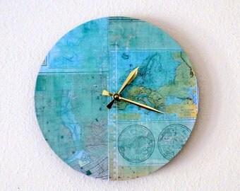 Unique Wall Clock, Map Clock, Home Decor, Decor and Housewares,  Home and Living, Teal, Aqua Home Decor