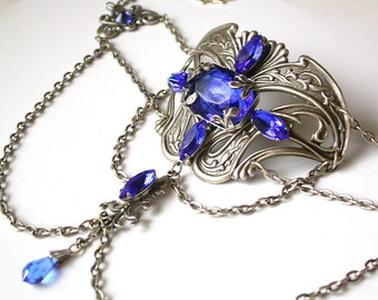 Silver Gothic Choker  - Sapphire Jewels on Art Nouveau Silver Choker - Victorian Gothic Jewelry