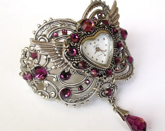 Ladies Silver Watch Swarovski Crystal Bracelet Watch Women Watches Vintage Style Watch Gothic Beaded Watch Victorian Gothic Jewelry