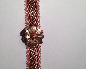 Copper Splash Beaded Bracelet