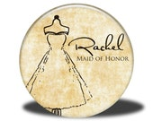 PERSONALIZED Maid of Honor Wedding Favor - Mirror, Magnet, Bottle Opener or Pin - Dress