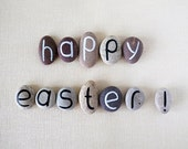 Happy Easter Greeting Magnets, 12 Letters, Custom Quote, Gift Ideas, Beach Pebbles by Happy Emotions, Gift Ideas, Sea Stones, Rocks