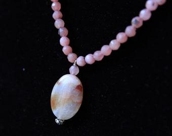 Handmade Rose Agate Pendant Necklace