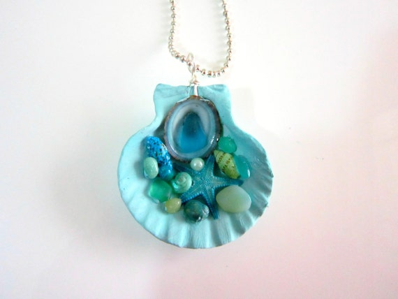 Sea Glass Pendant on Etsy Seashell Necklace