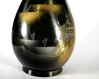 Vintage Brass Vase Incised Oriental Scene