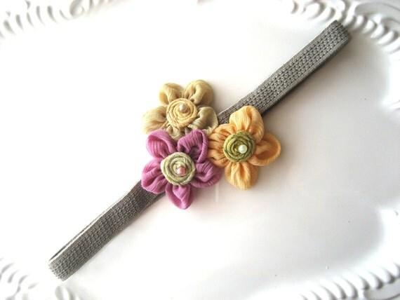 Floral Headband Elastic Headband Flower Pearl Beads