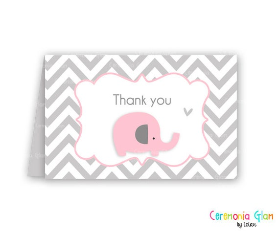 baby shower thank you cards chevron elephant pink and grey, Baby shower invitations