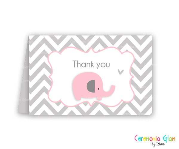 Baby shower thank you cards chevron elephant pink and grey