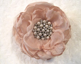 Petite Champagne  Wedding Flower Hair Clip Bride, Mother of the Bride, Bridesmaids  with Pearl and Rhinestone Accent